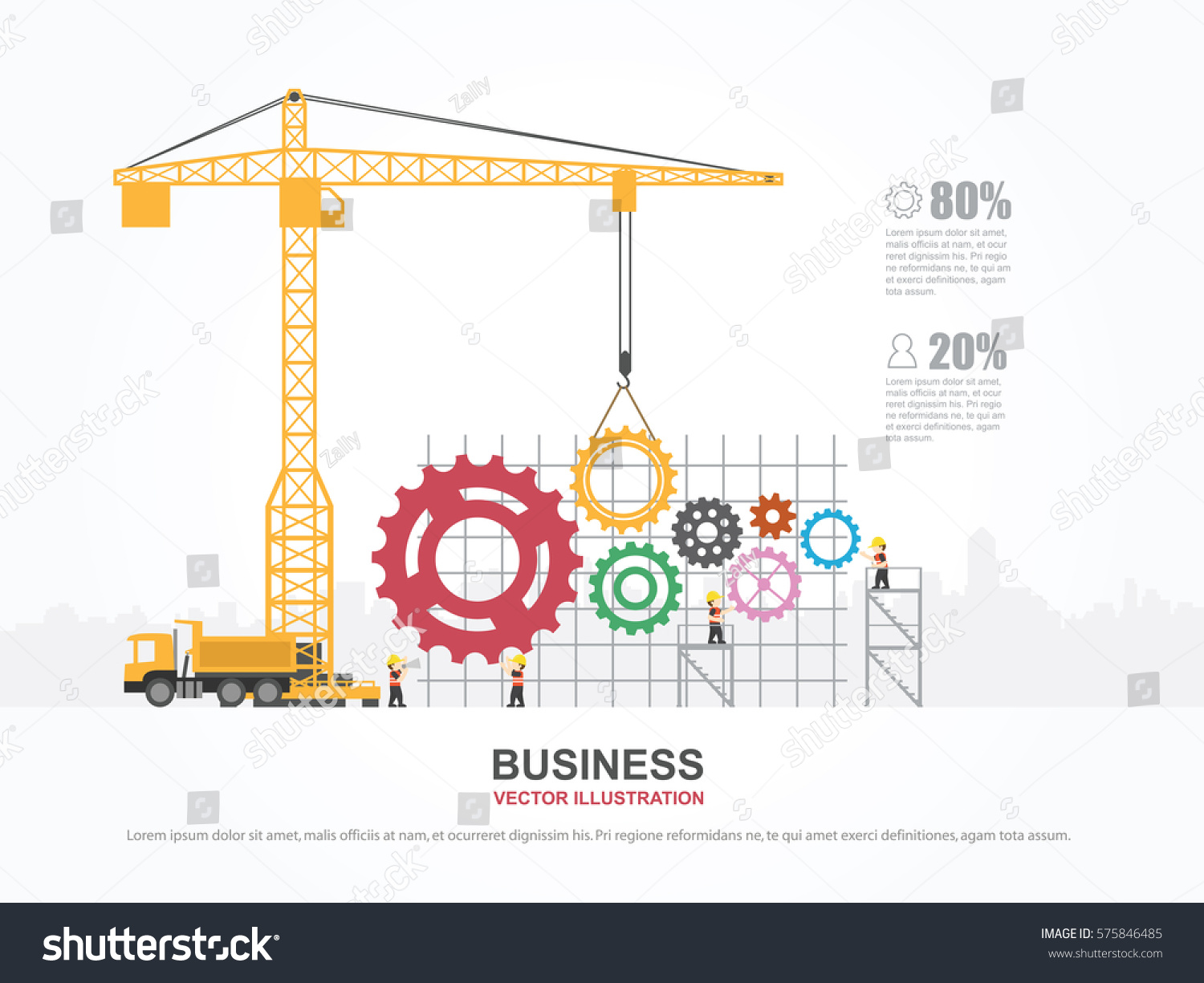 Crane Gear Building Infographic Template Vector Stock Vector ...