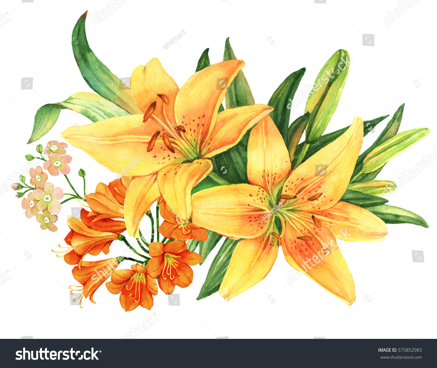 Yellow lily flower watercolor bouquet stock illustration 575852983 yellow lily flower watercolor bouquet mightylinksfo