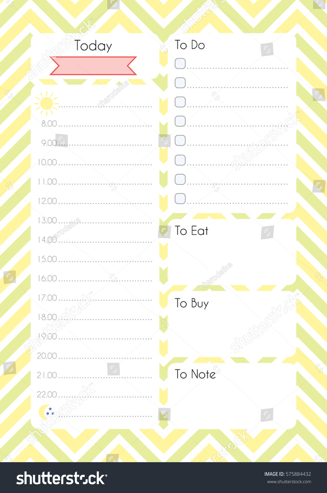 printable diary page daily planning paper stock vector royalty free