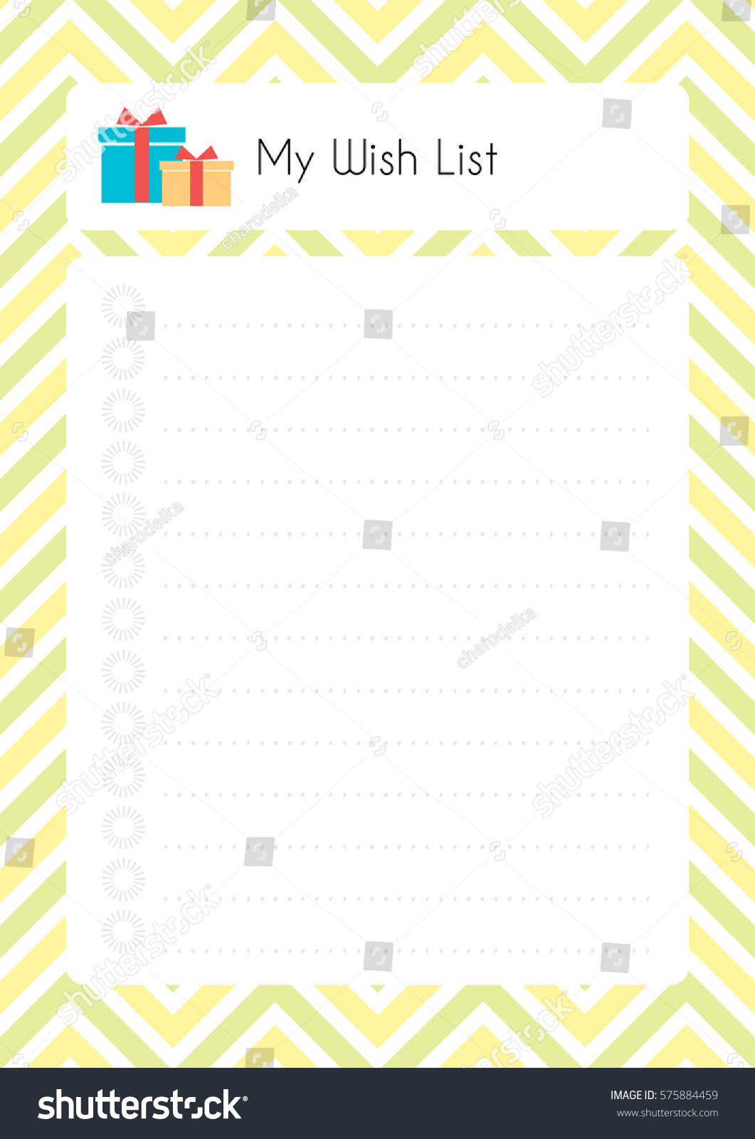 Printable Diary Page My Wish List Vector 575884459 – Diary Paper Printable
