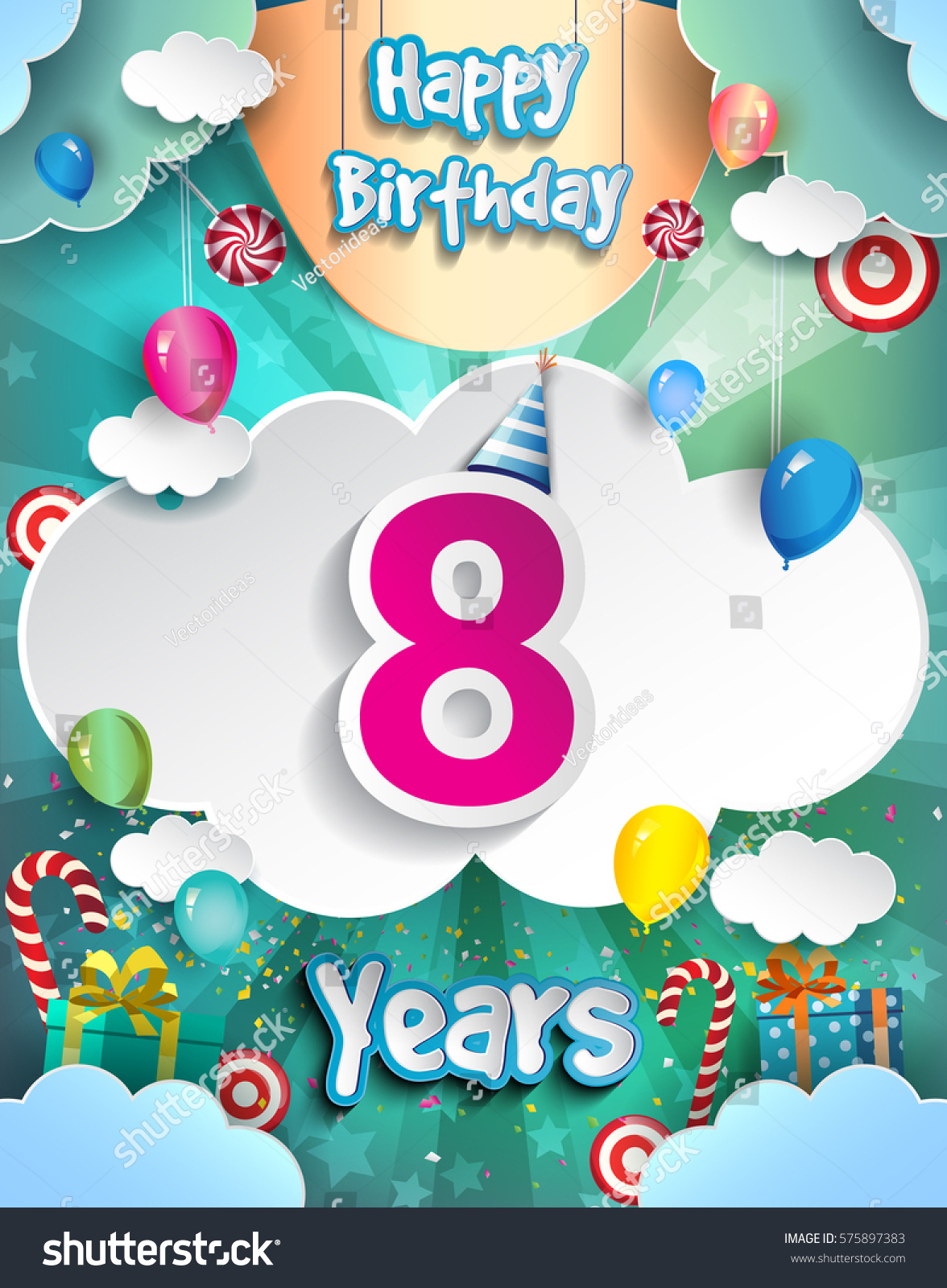 8 Years Birthday Design For Greeting Cards And Poster With Clouds Gift Box