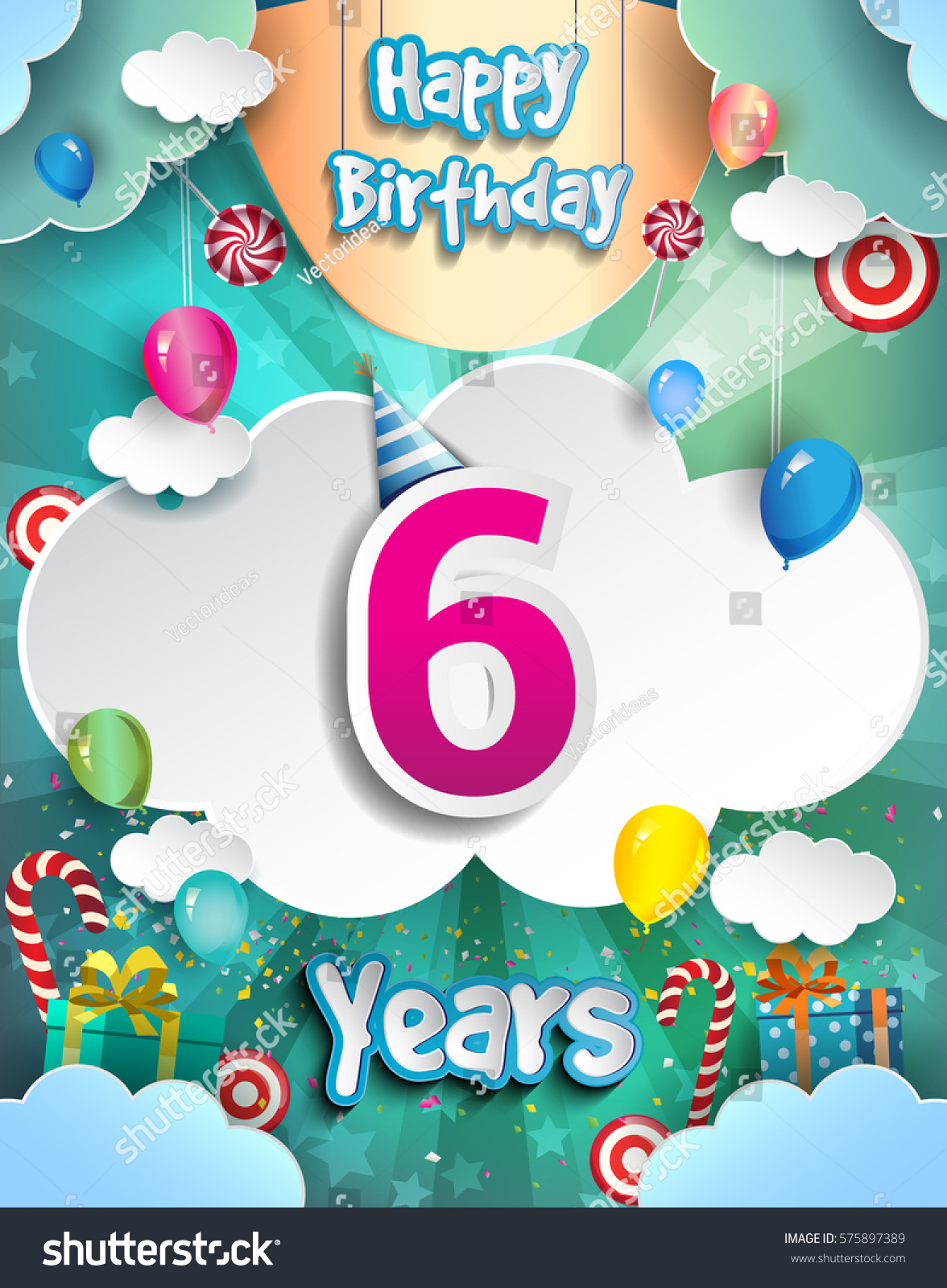 6 Years Birthday Design For Greeting Cards And Poster With Clouds Gift Box