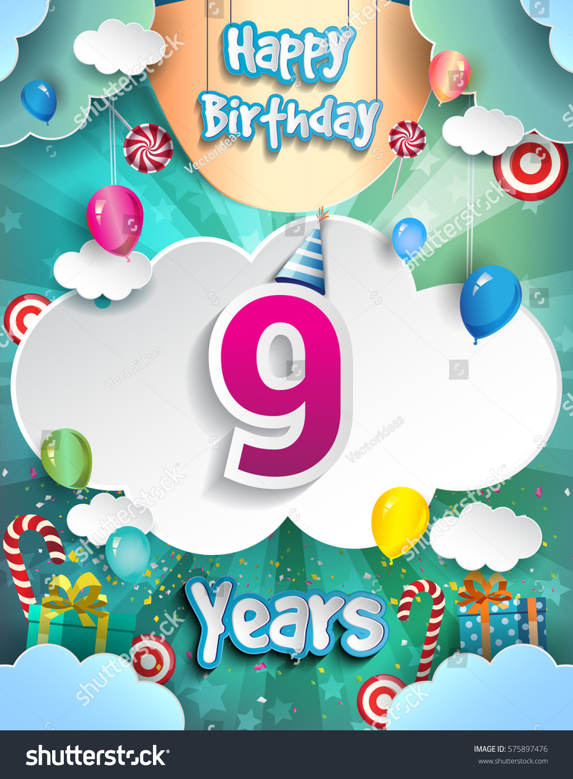 9 Years Birthday Design For Greeting Cards And Poster With Clouds Gift Box