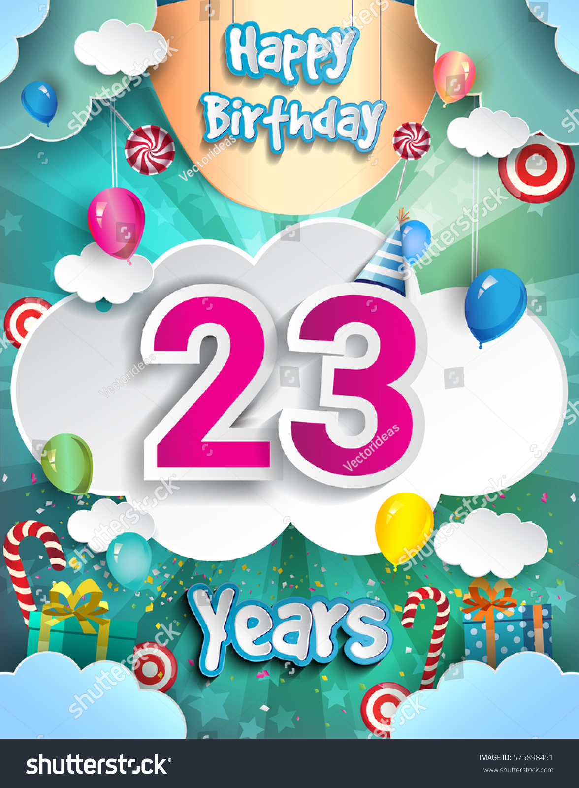 23 Years Birthday Design For Greeting Cards And Poster With Clouds Gift Box