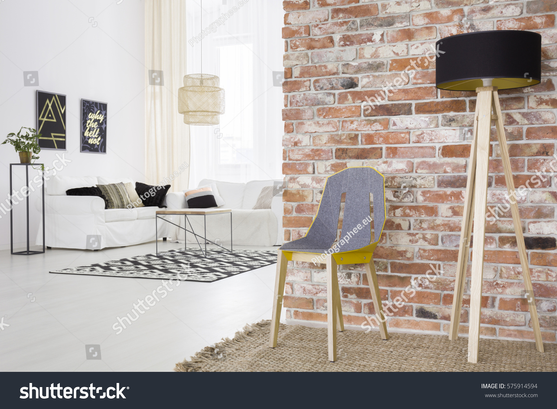 Trendy Loft Brick Wall White Living Stock Photo (Royalty Free ...