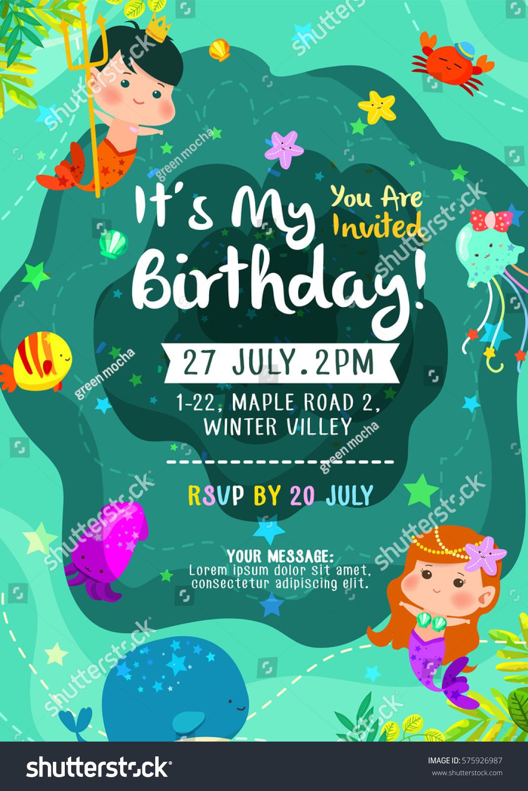 Under Sea Cute Birthday Birthday Invitation Stock Vector 575926987 ...