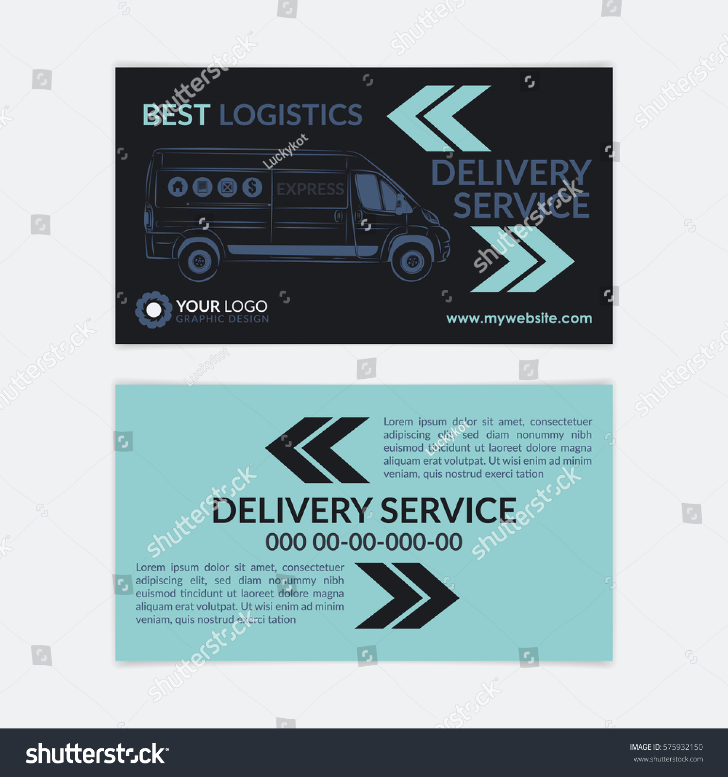 2 Sided Business Card Delivery Service Stock Vector 575932150 ...