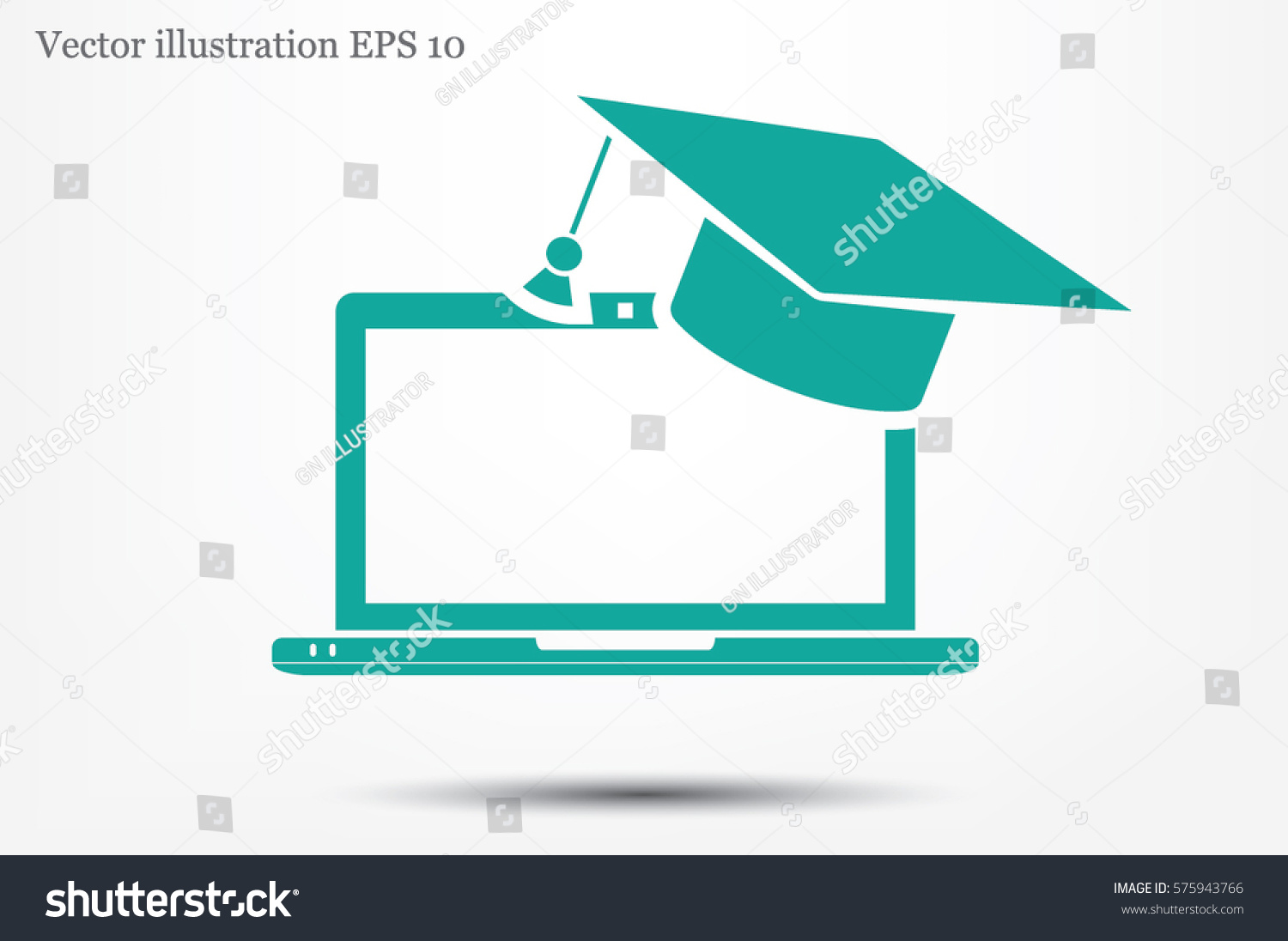 Education Online Concepts Laptop Graduation Cap Stock Vector ...
