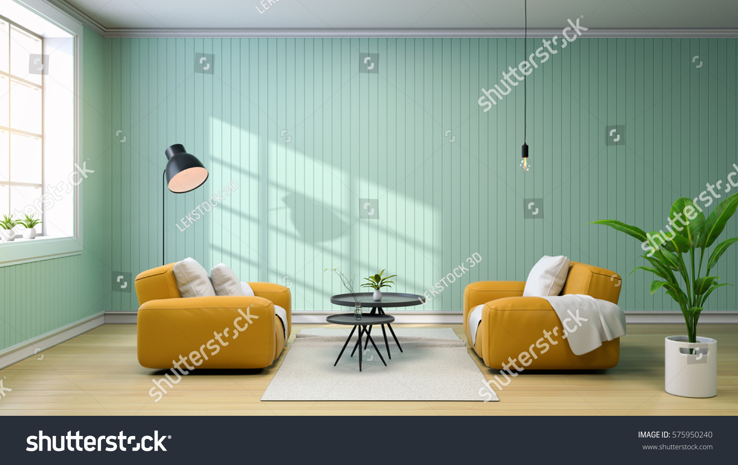 Interior Of Living Room With Yellow Sofa And Black Coffee Table, Lamps And  Green Wall Part 73