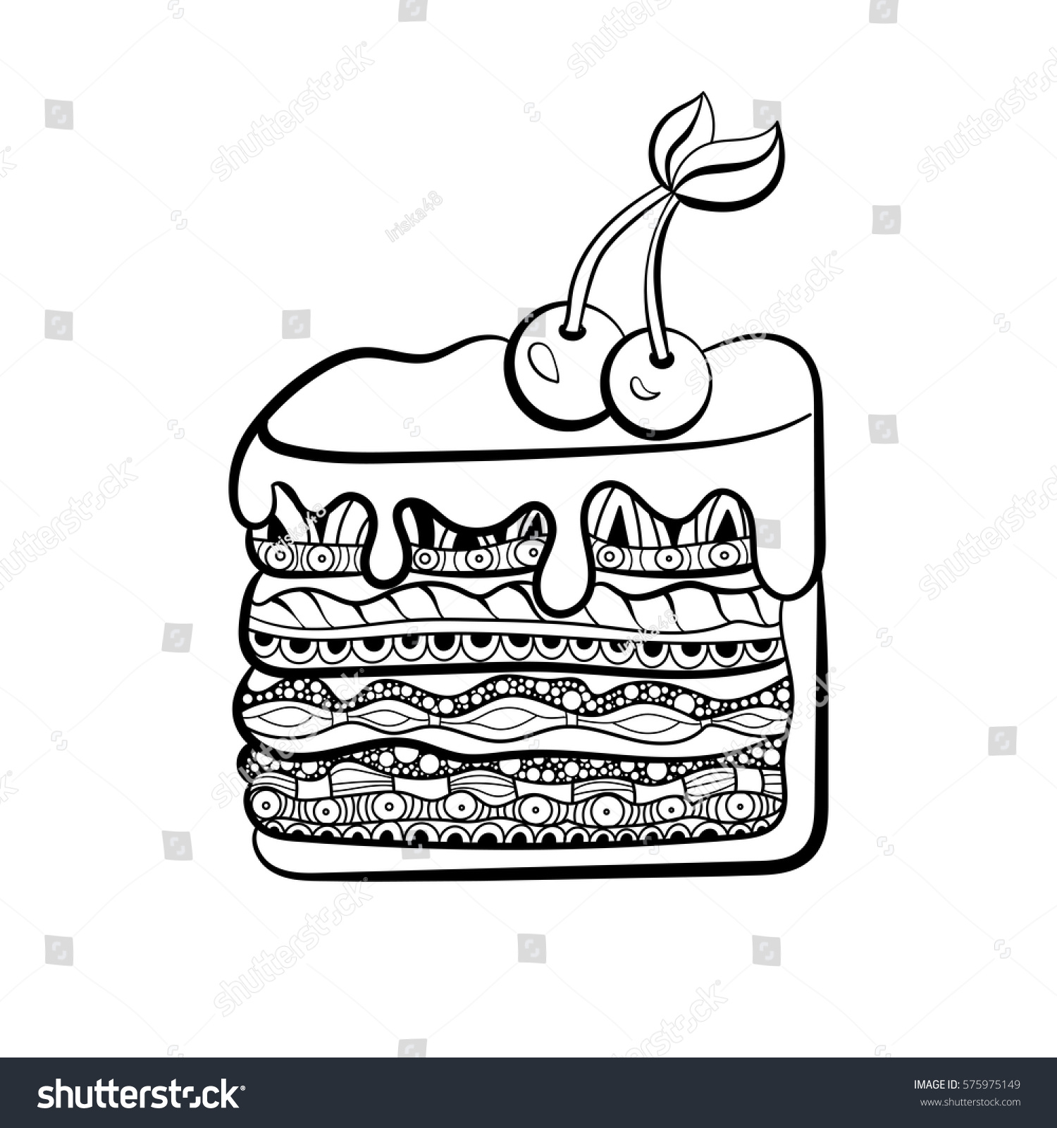 Piece Cake Coloring Book Adults Zentangle Stock Vector 575975149 ...