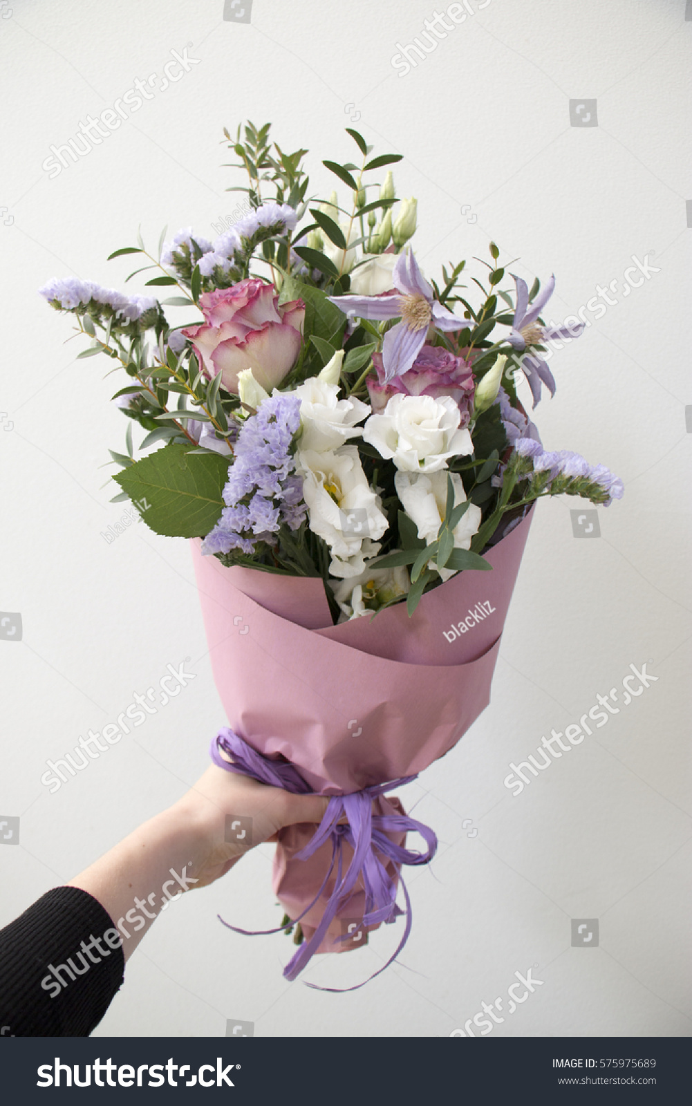Bouquet Fresh Flowers Hand Stock Photo & Image (Royalty-Free ...