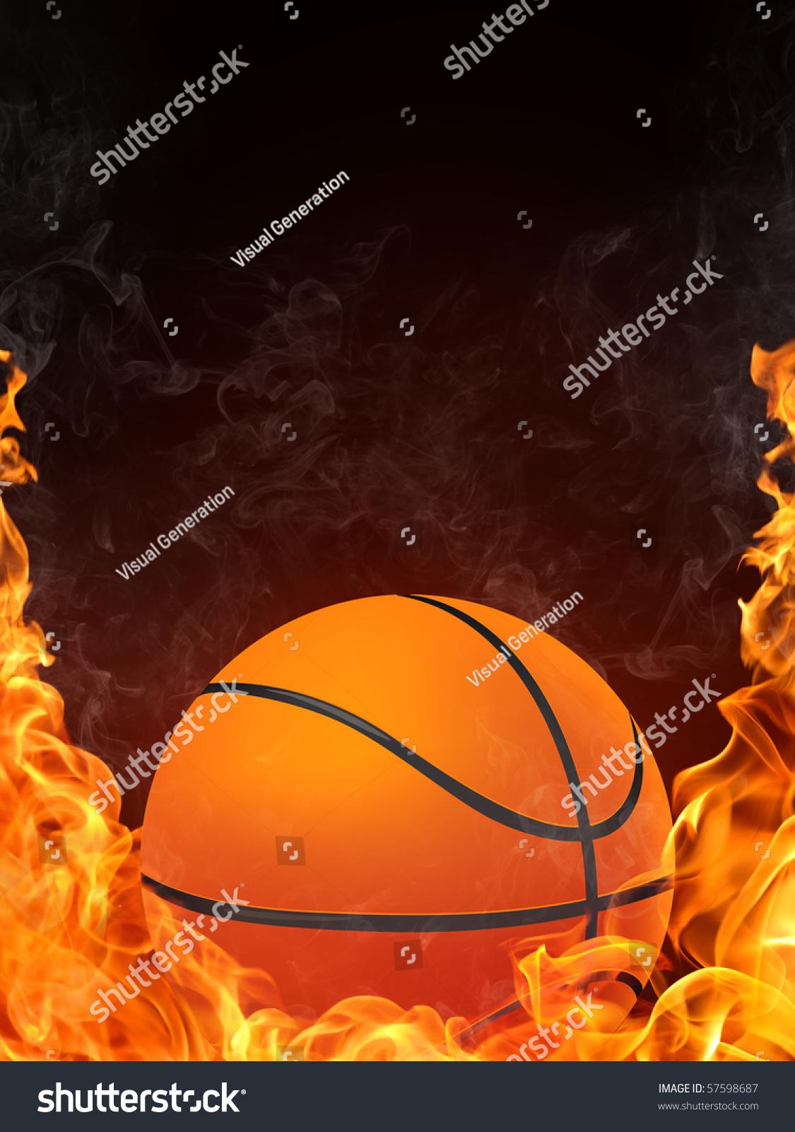 Basketball Ball On Fire 2d Graphics Stock Illustration ...