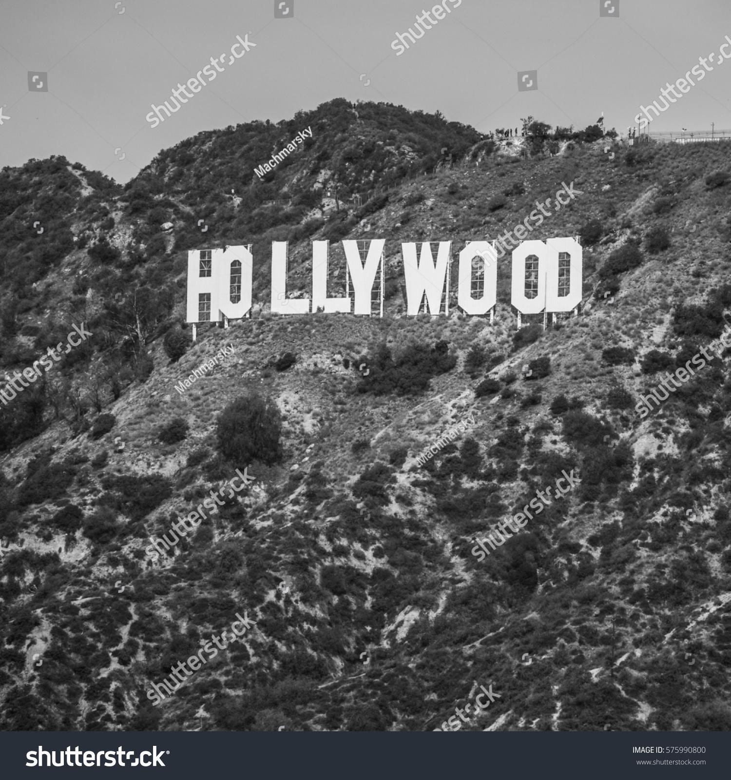 Hollywood Sign Black White Stock Photo Royalty Free 575990800