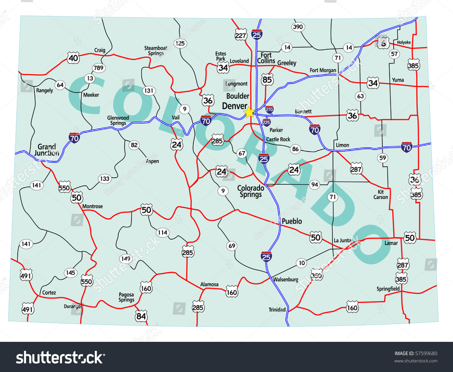 Interstate Map Continental United States State Stock Illustration - Map of usa states interstates