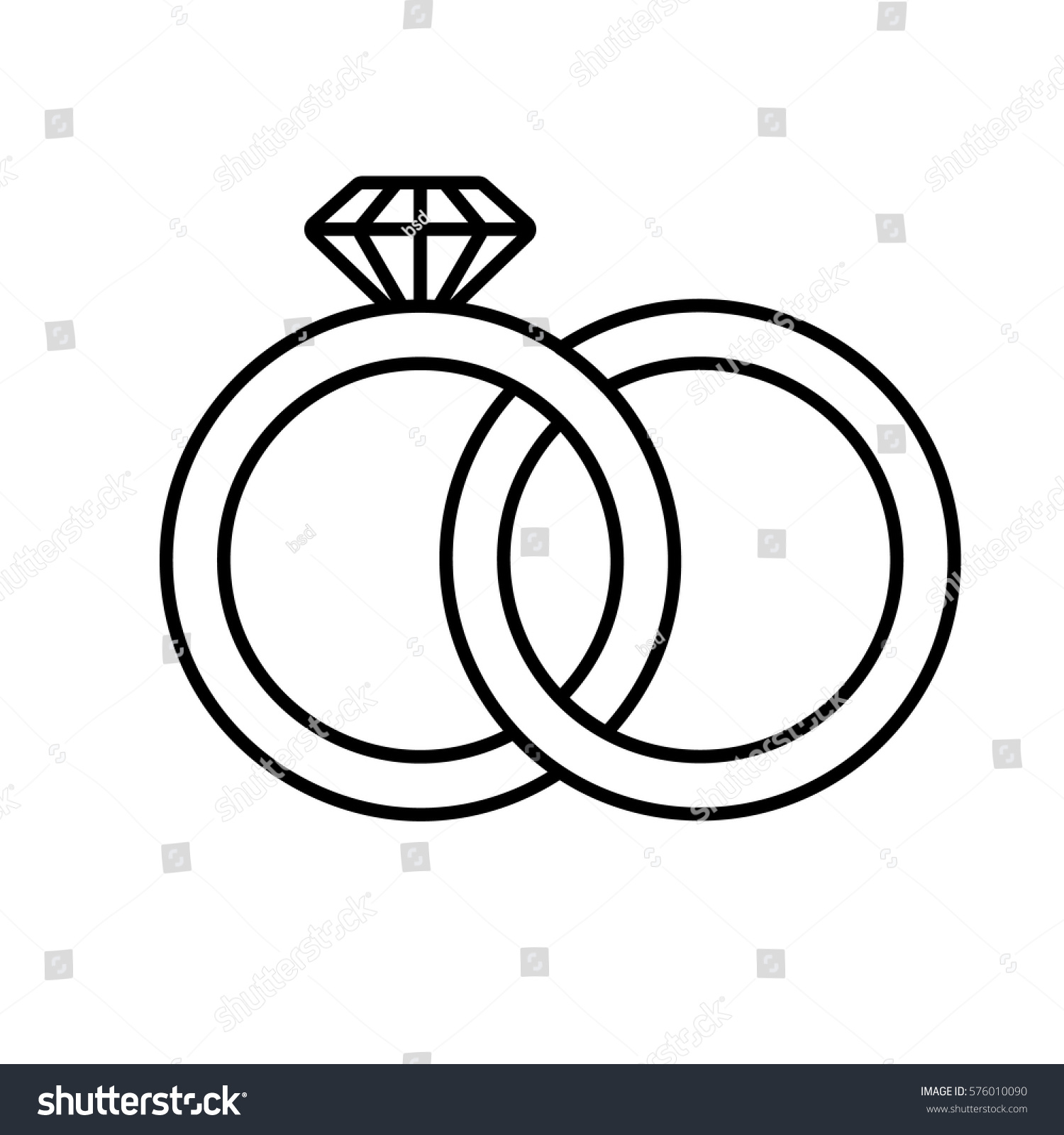 Wedding Rings Linear Icon Thin Line Stock Vector 576010090