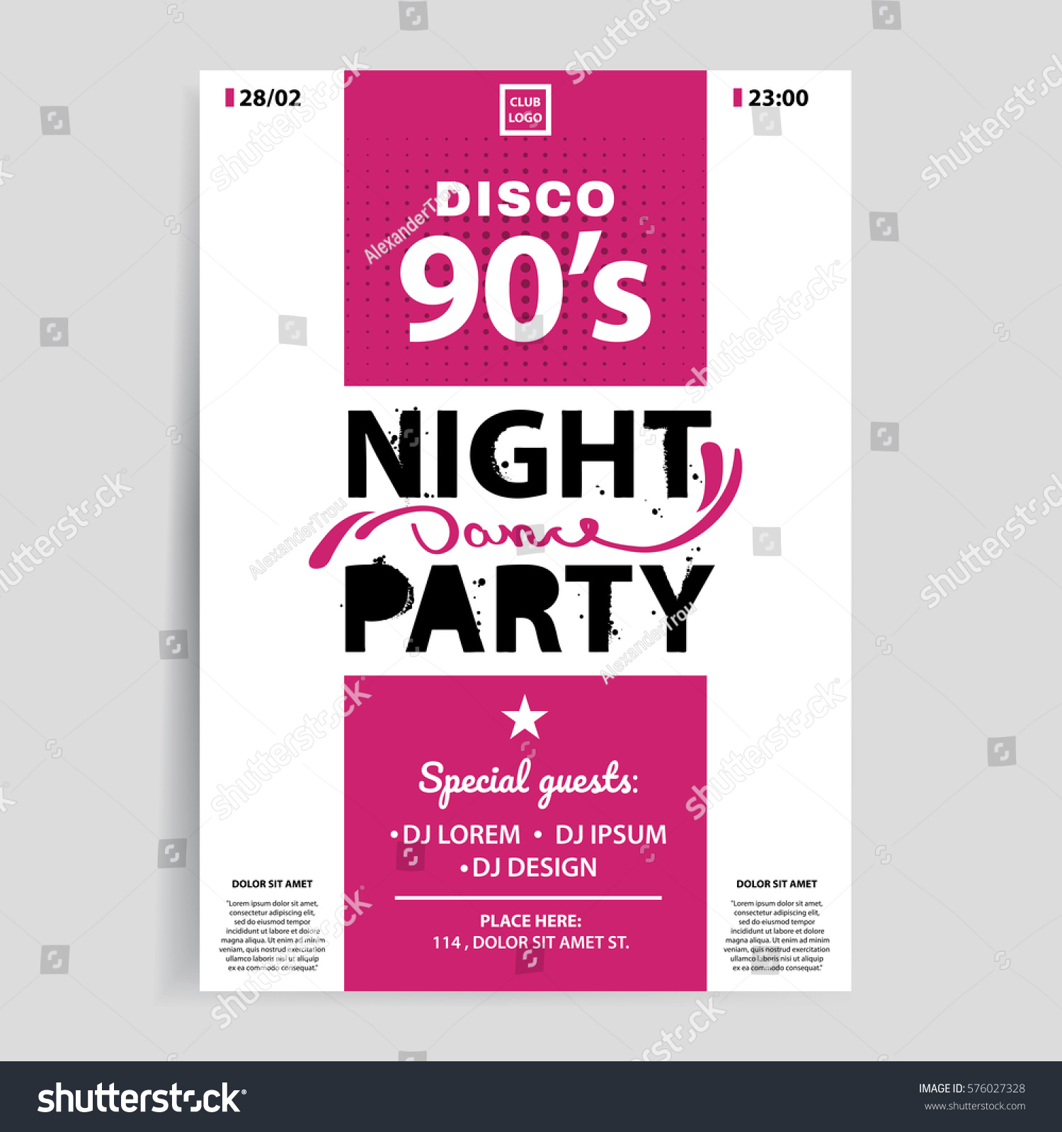 Night Party Invitation Flyer. Template For Your Event Design. Vector Eps