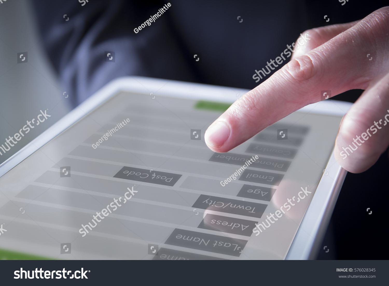 Hand Interacting Digital Form On Screen Stock Photo 576028345 ...