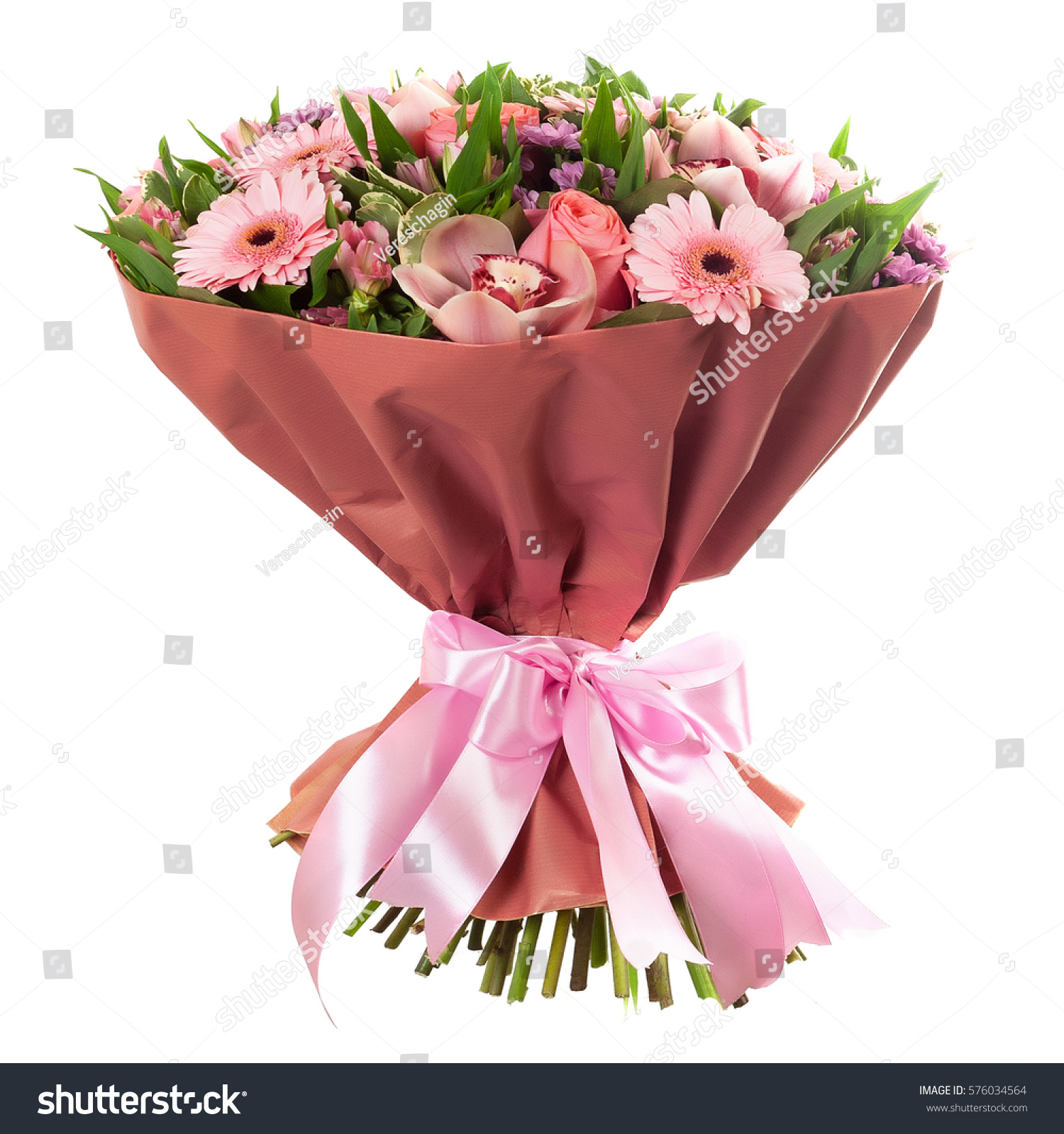 Fresh, lush bouquet of colorful flowers, isolated on white background