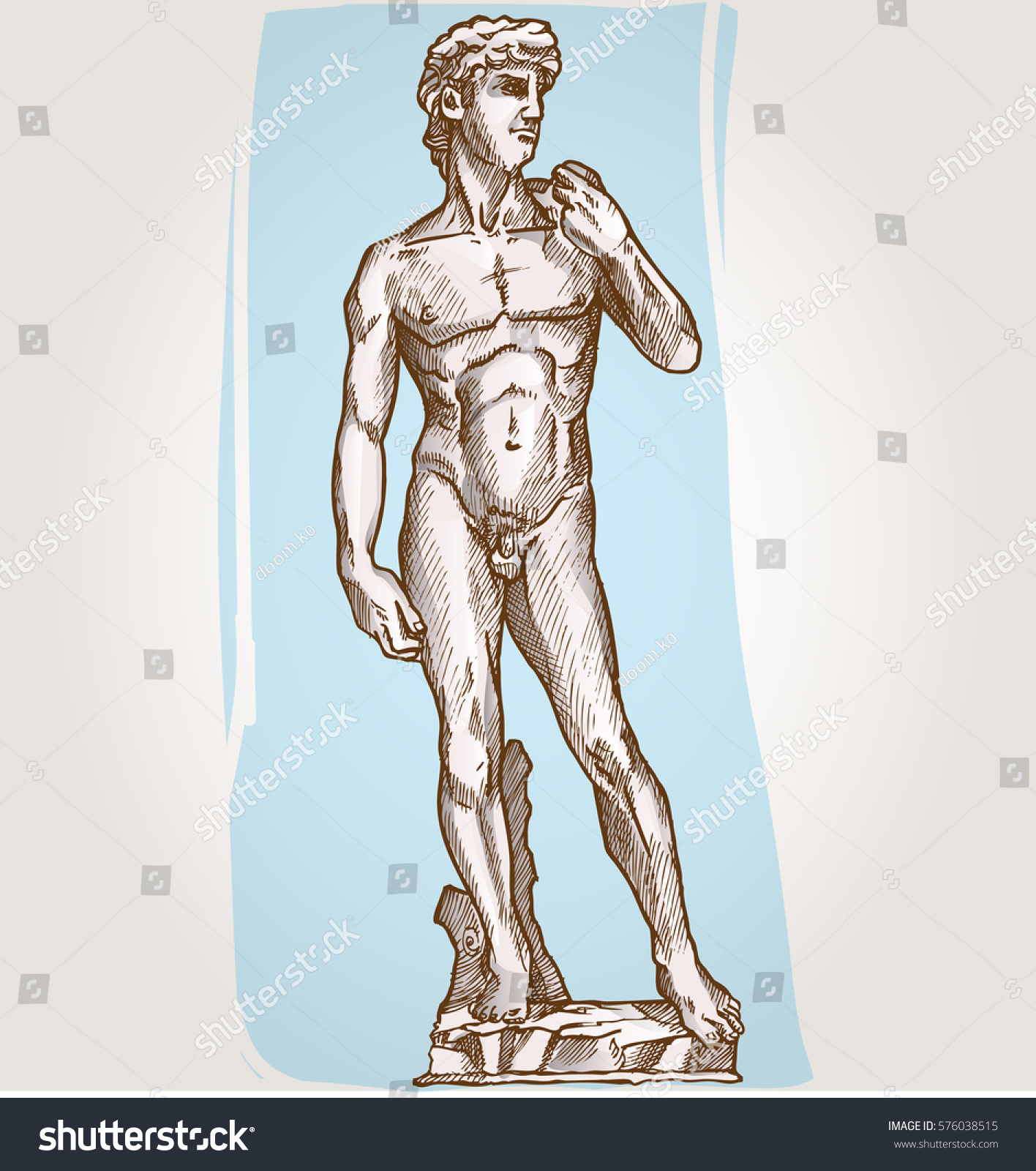 David Statue Michelangelo On Background Stock Vector Royalty Free