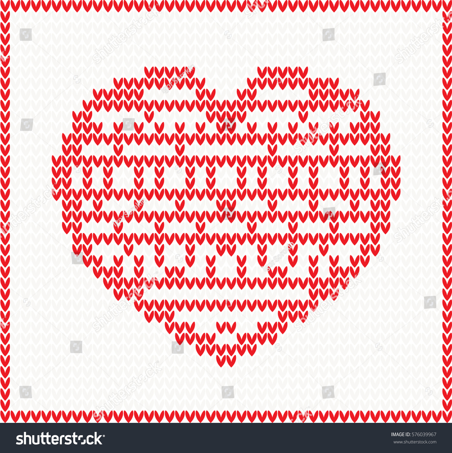 Knitted Pattern Red Heart Christmas Valentines Stock Vector ...