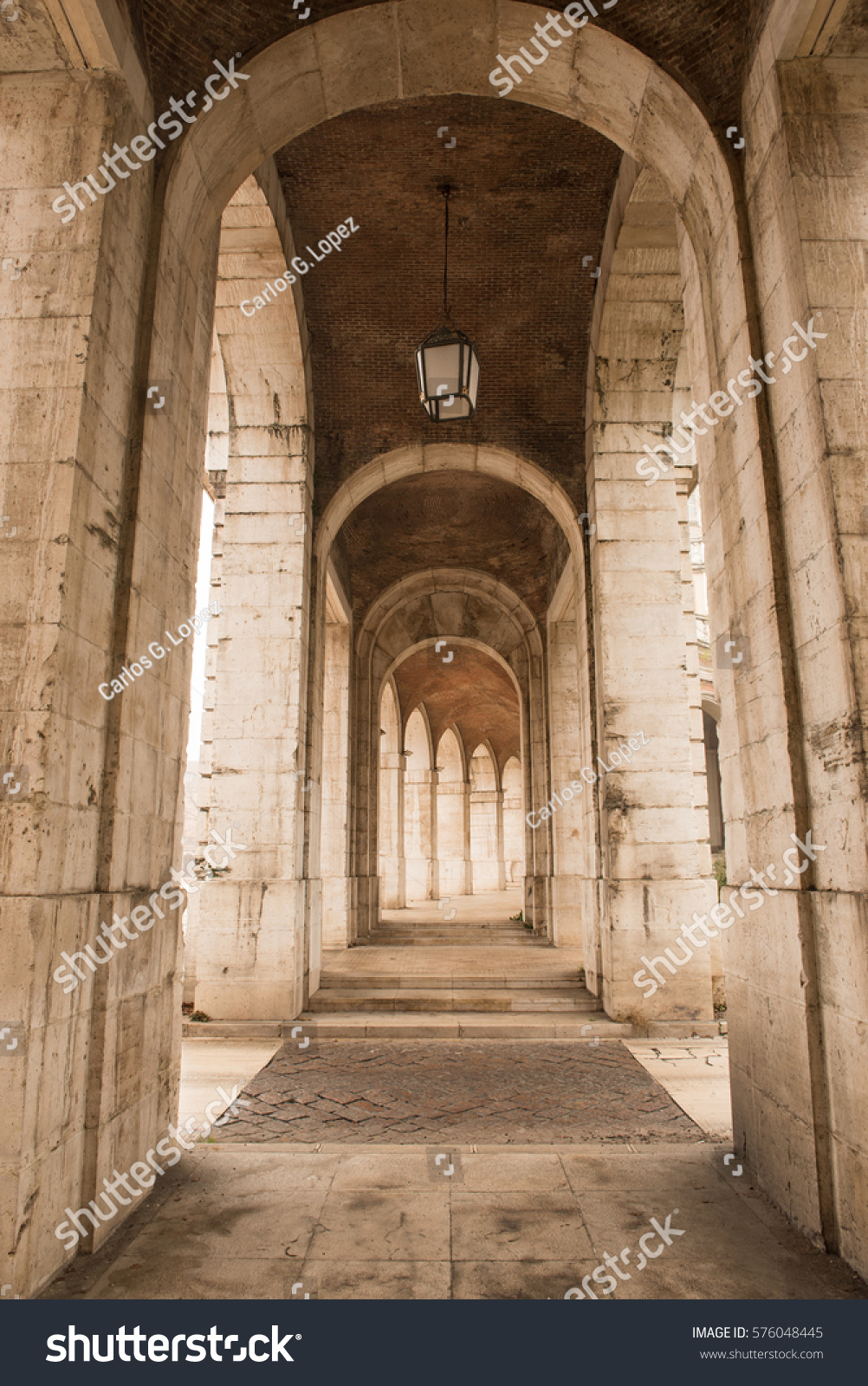 View Archway Royal Palace Aranjuez Madridwith Stock Photo