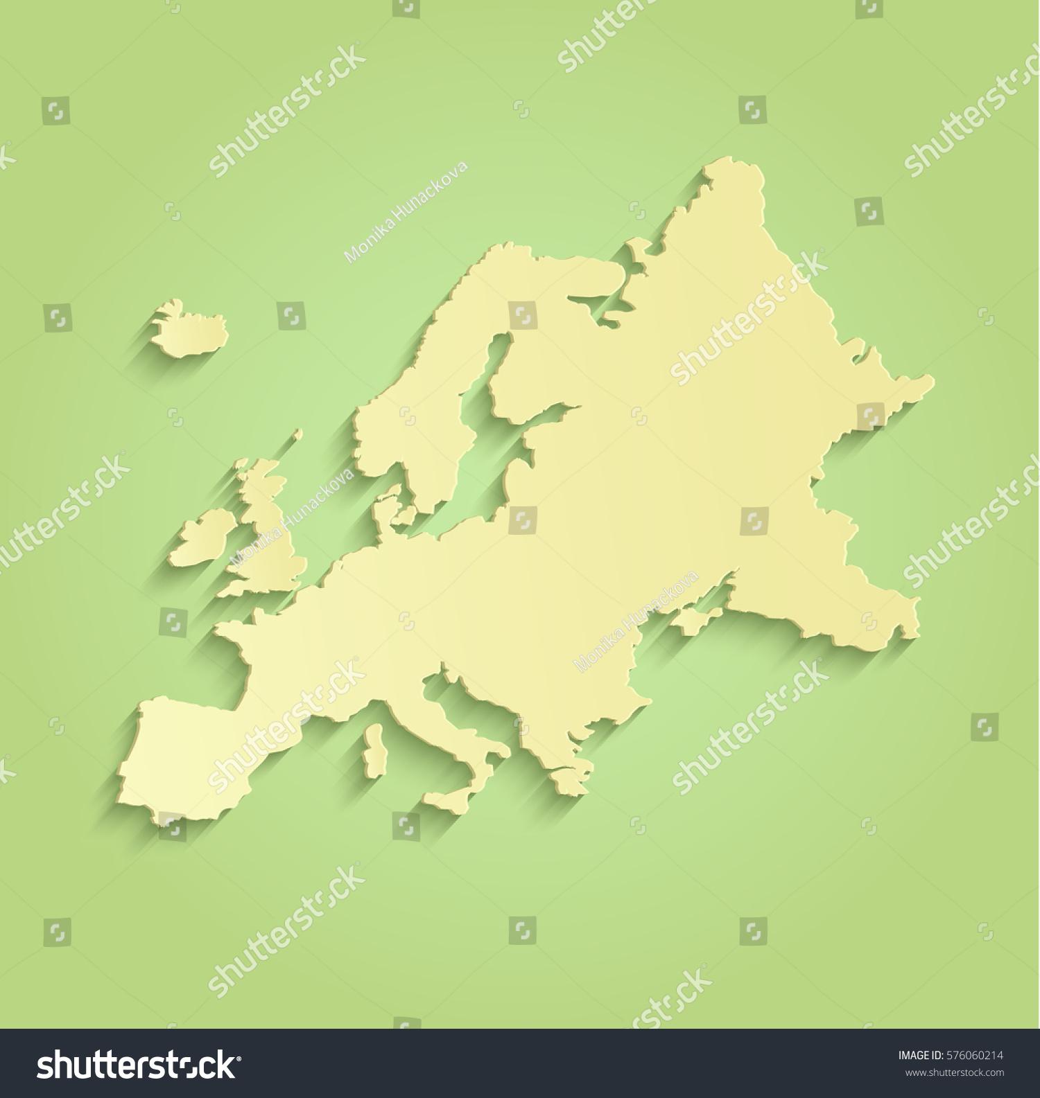 Europe Map Green Yellow Raster Blank Stock Illustration - Blank world map green
