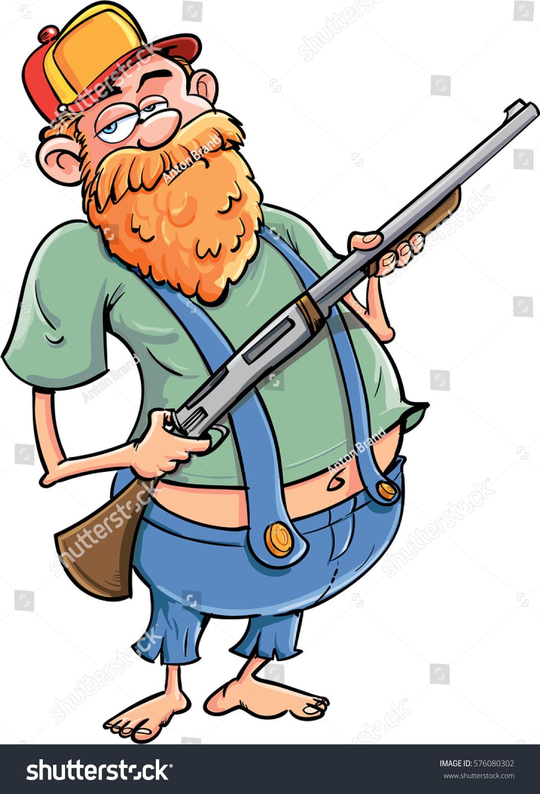 Cartoon Redneck Rifle Baseball Cap Stock Vector Royalty Free 576080302