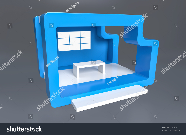 Exhibition Stand White : Exhibition stand plain blue white stock illustration