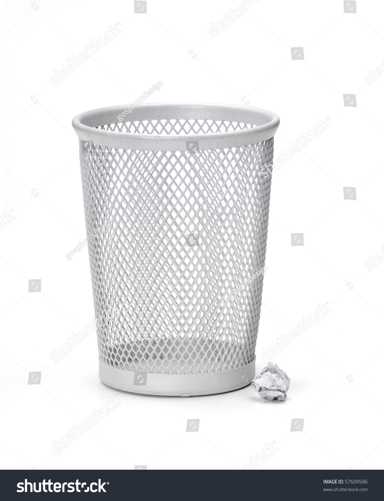Office Wastebasket Or Trashcan And Paper On A White Background.