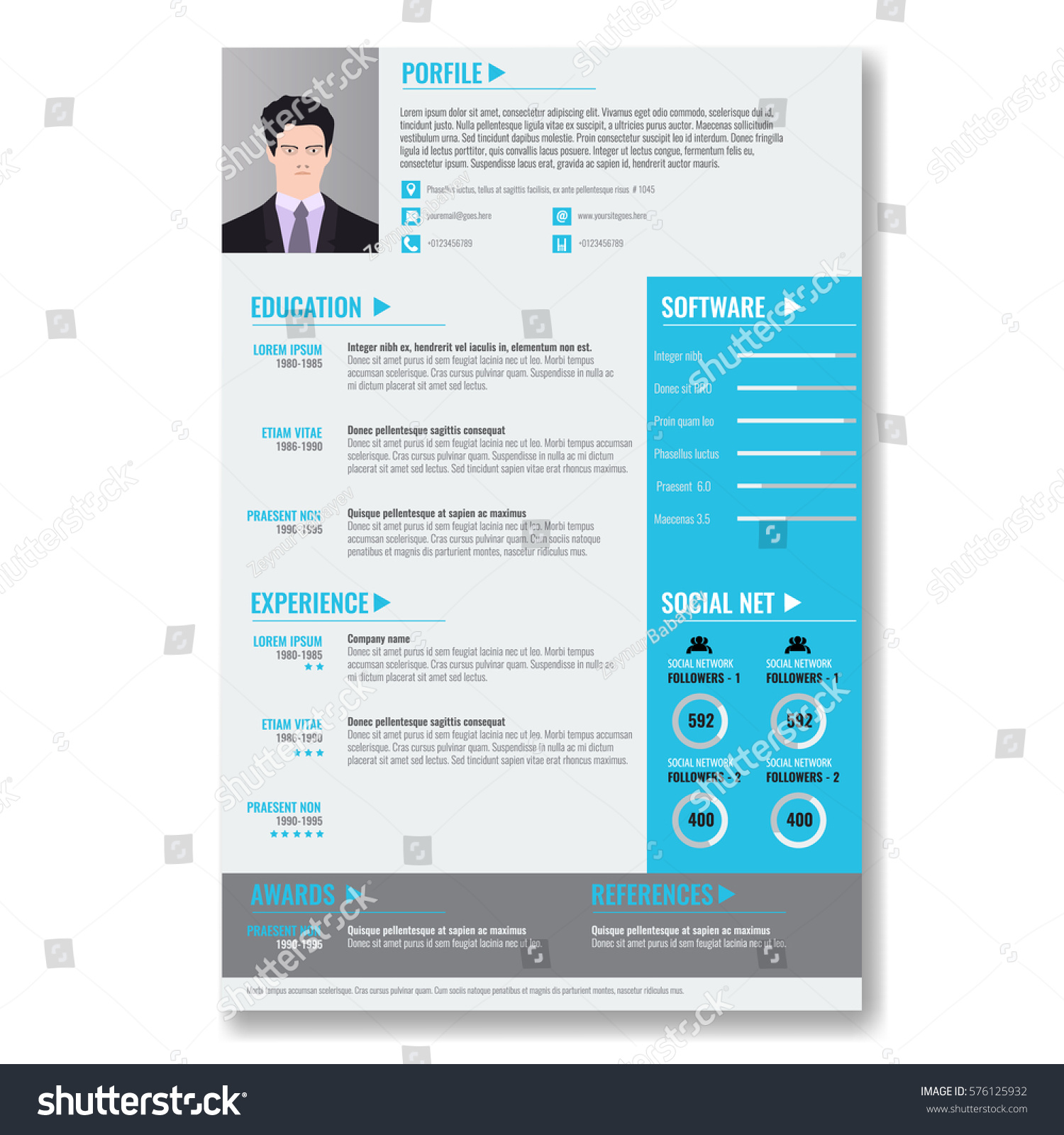 vector creative minimalist cv resume template stock vector
