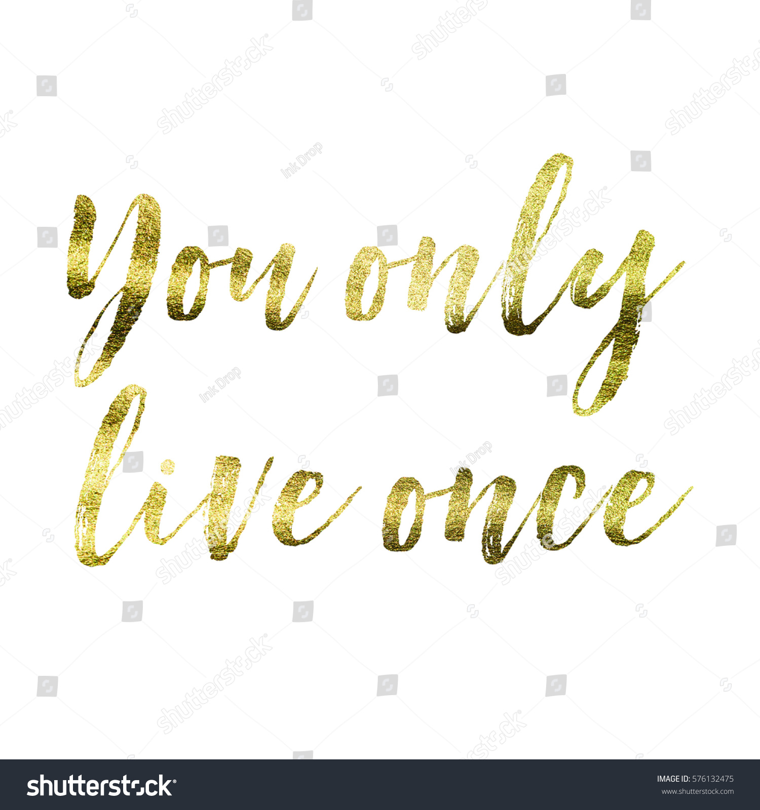 Live Gold Quotes You Only Live Once Gold Foil Stock Illustration 576132475