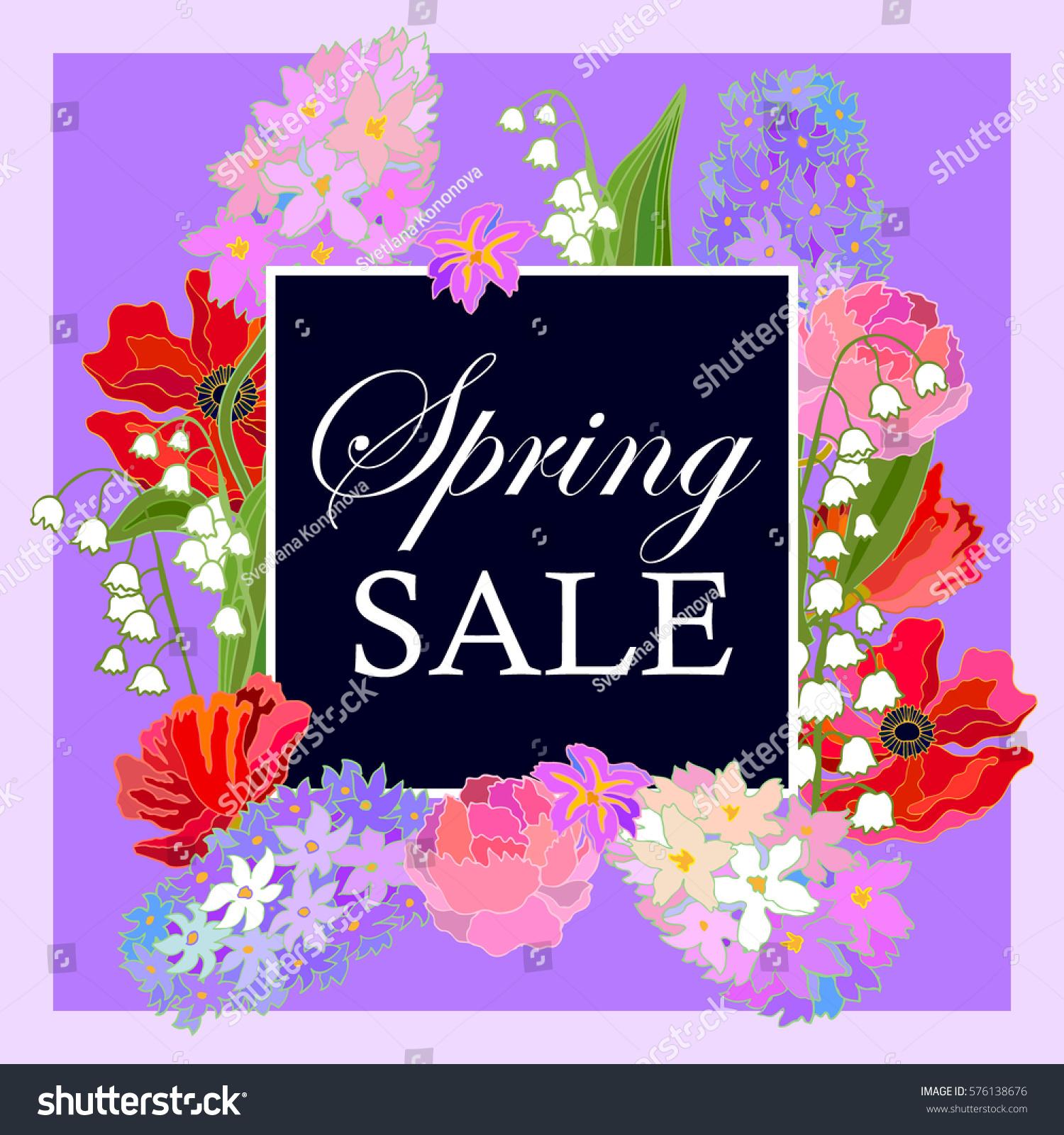 Blooming Spring Flowers Vintage Cards Hyacints Stock Vector Royalty
