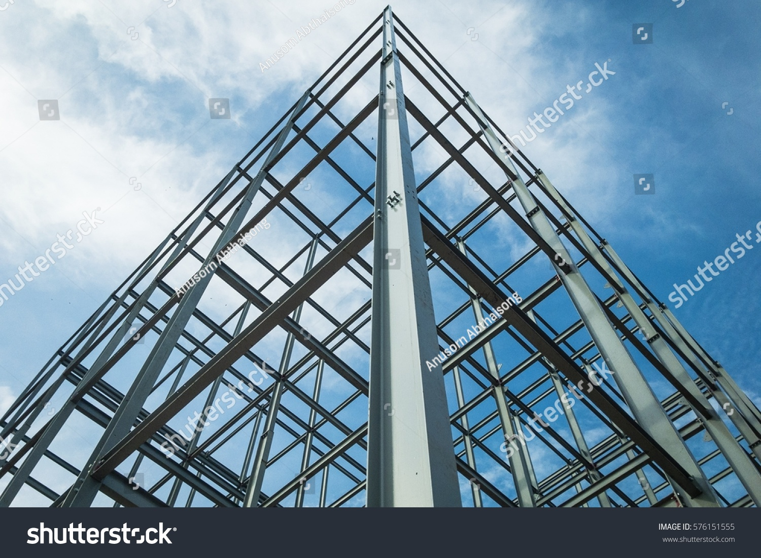 Structure of steel  for building construction on sky background.