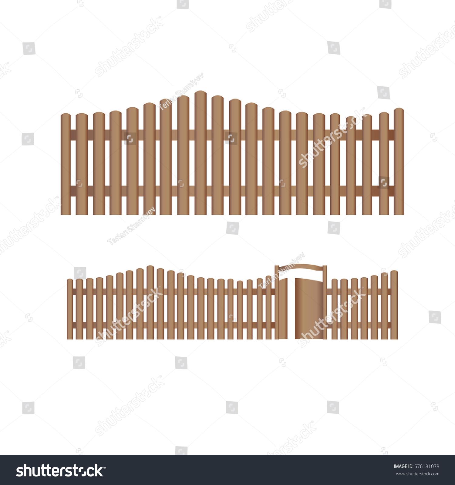 set wooden farm fence vector flat stock vector