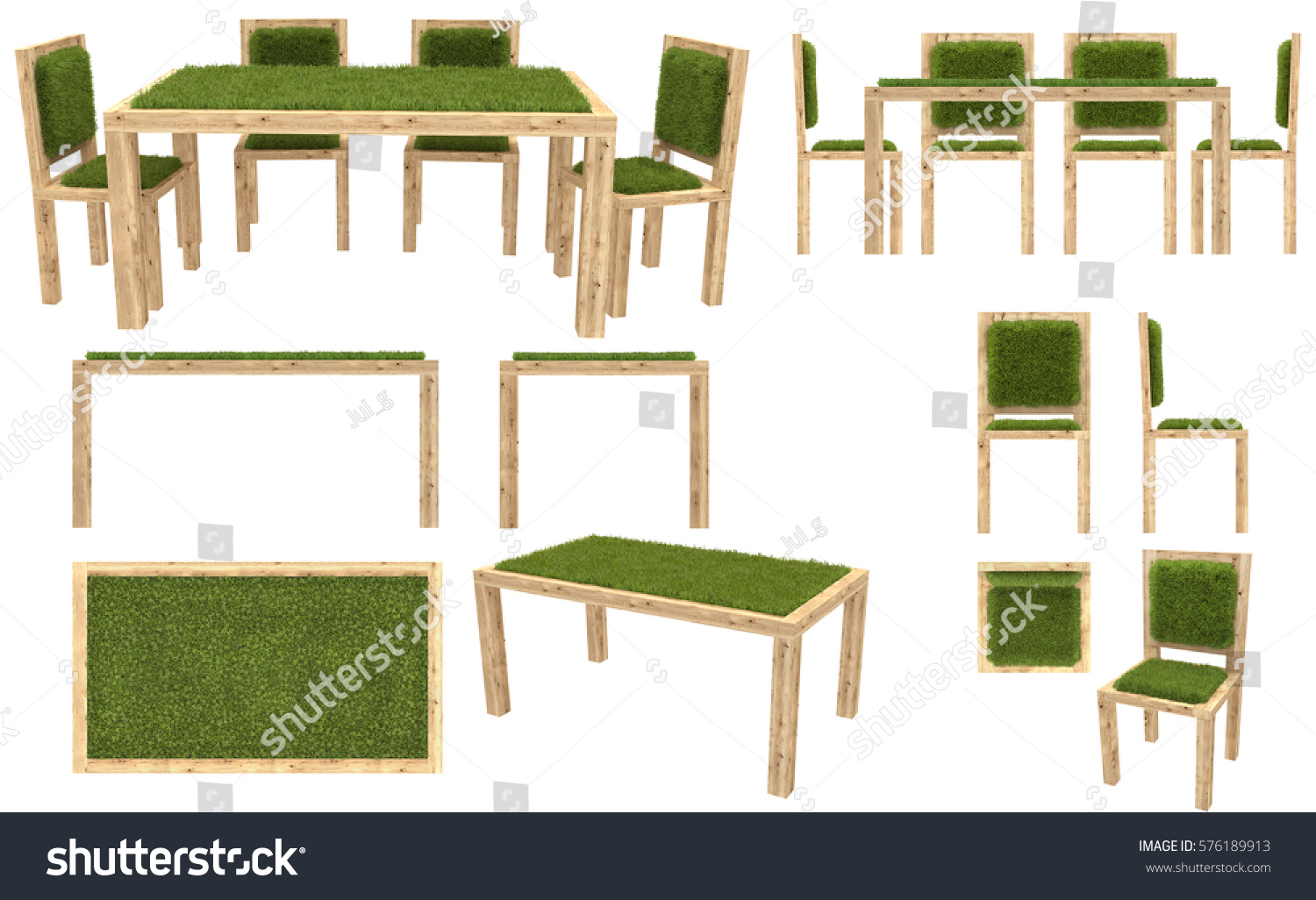 wooden table and chairs with grass cover garden furniture top view side view