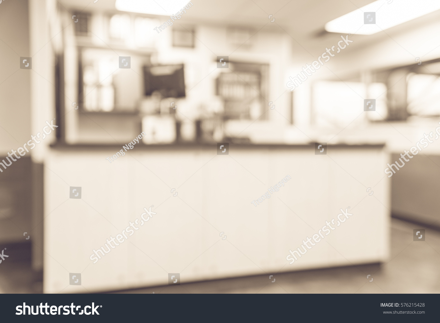 Blurred Image Empty Office Counter Service Stock Photo Edit Now 576215428
