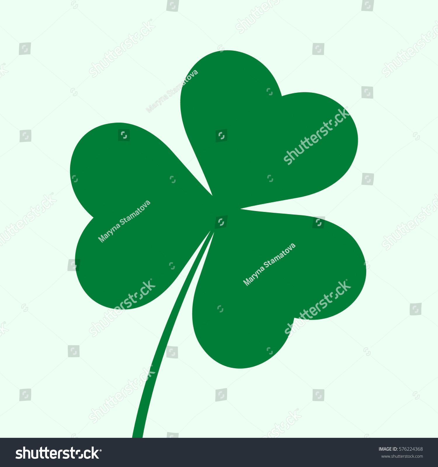 three leaf clover icon st patricks stock vector 576224368