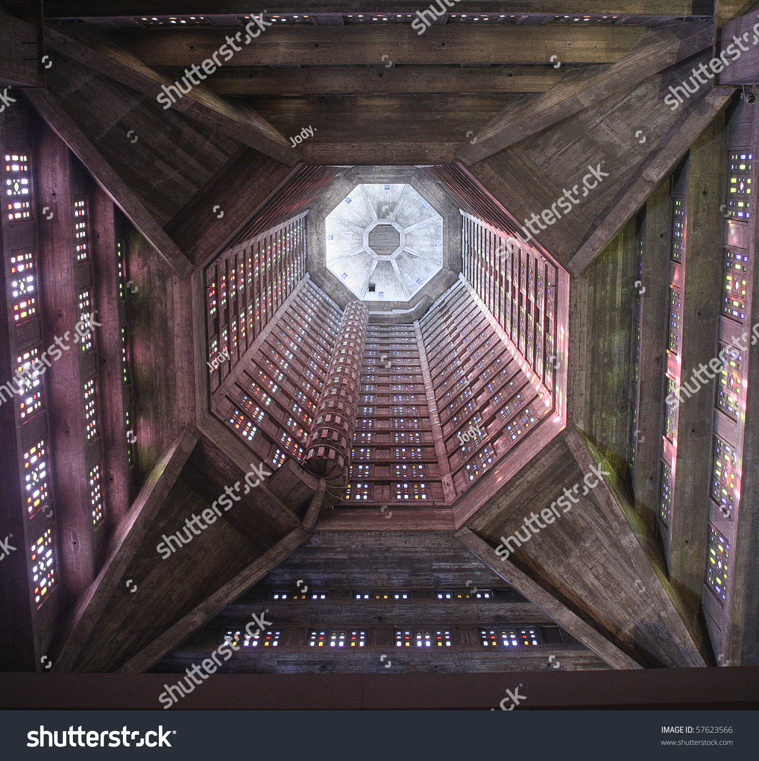 saint joseph church interior of a church tower le havre normandy france imagen de archivo. Black Bedroom Furniture Sets. Home Design Ideas