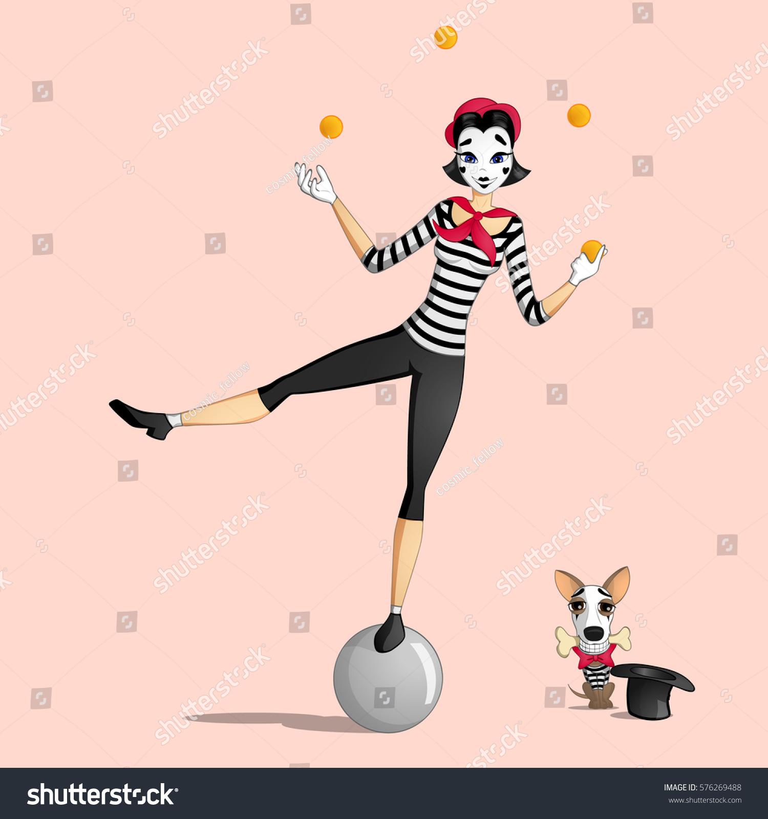 girl mime performing pantomime called juggling のベクター画像素材