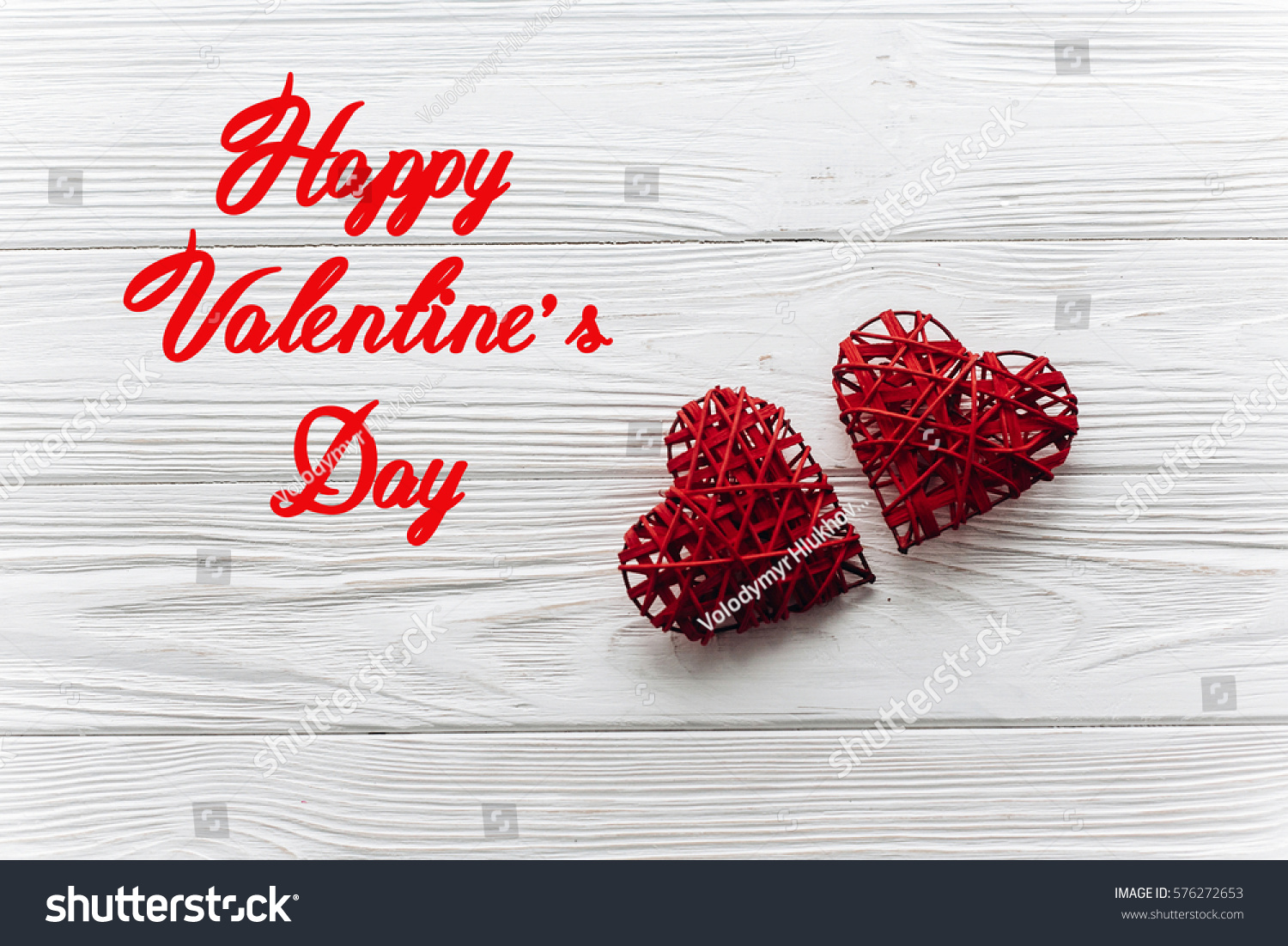 Happy Valentines Day Text Couple Hearts Stock Photo Edit Now