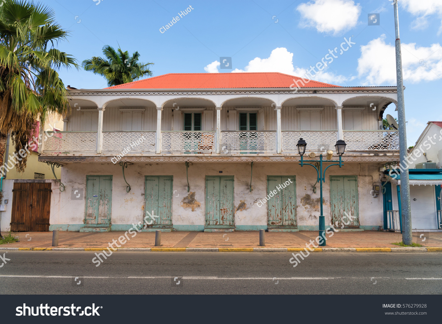 Old grunge building in Philipsburg on the island of St. Maarten in the Caribbean.