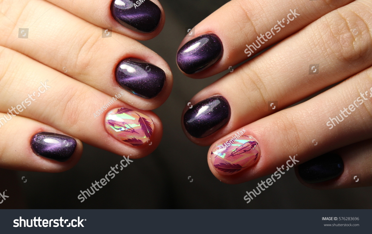 Manicure Nail Design Cats Eye Feathers Stock Photo (Edit Now ...