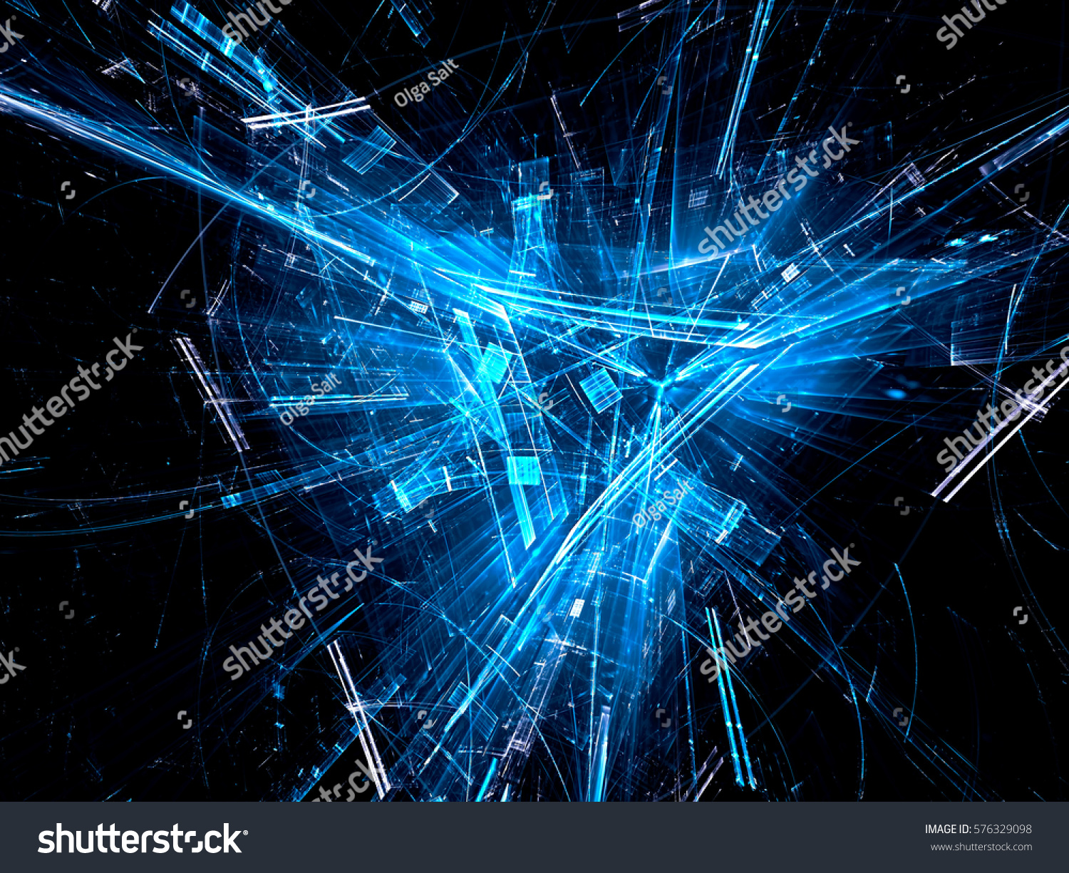 Abstract Technology Background With Light Effect: Technology Design Abstract Computergenerated Image Fractal