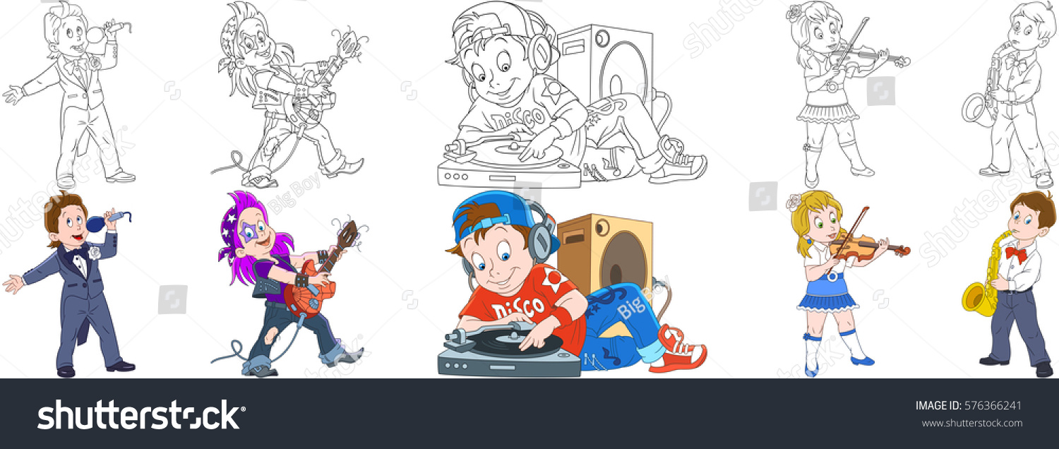 Cartoon People Set Collection Of Musical Professions Opera Singer Guitarist Rock And