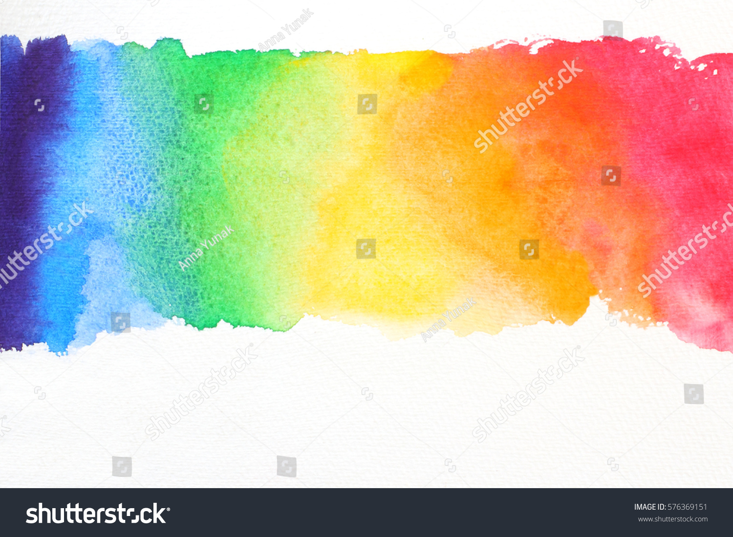 line watercolor texture in rainbow colors on white paper  #576369151