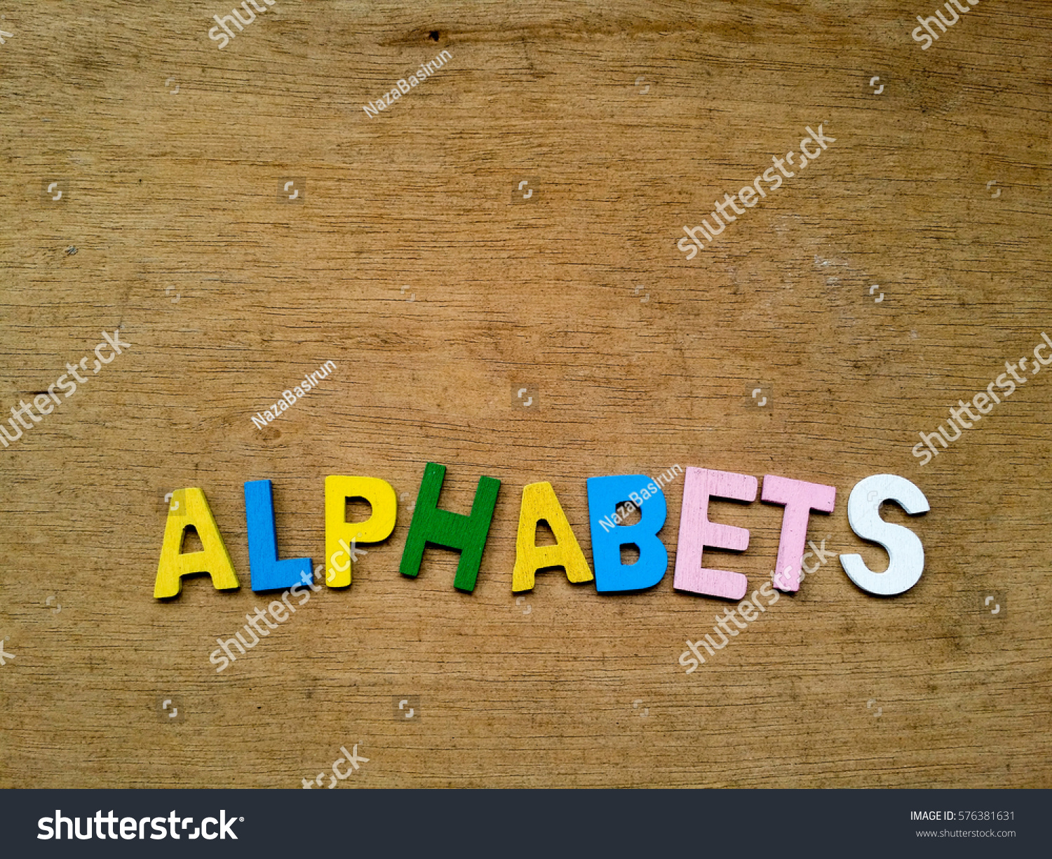 Colorful Wood Alphabets On Timber Flooring Stock Photo 576381631 ...
