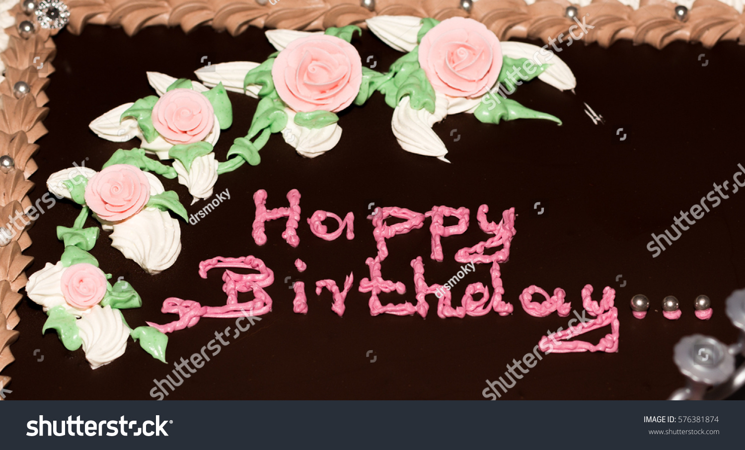 Birthday Cake Chocolate Flavour Words Happy Stock Photo Royalty