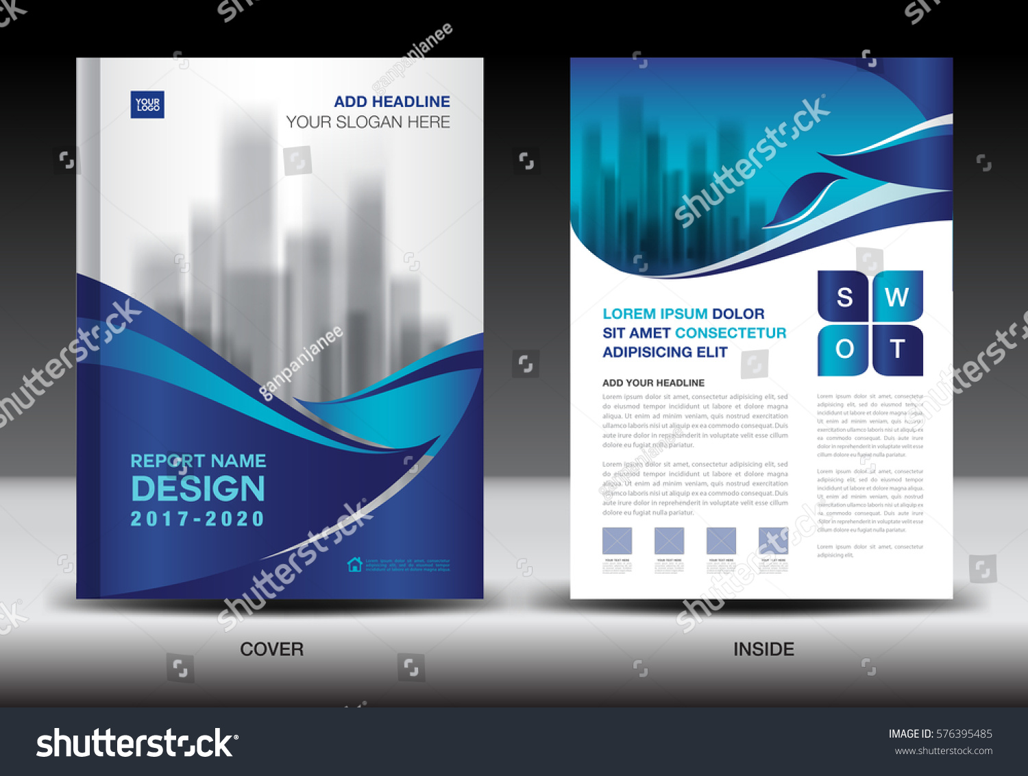 Annual Report Brochure Flyer Template Blue Vector 576395485 – Blue Flyer Template