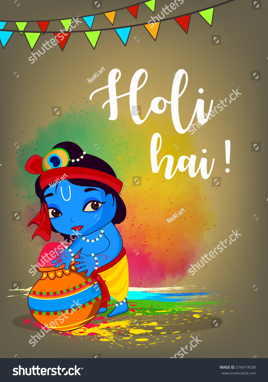 Happy Holi Vector Illustration Wallpaper Design Stock Vector Royalty Free 576419038