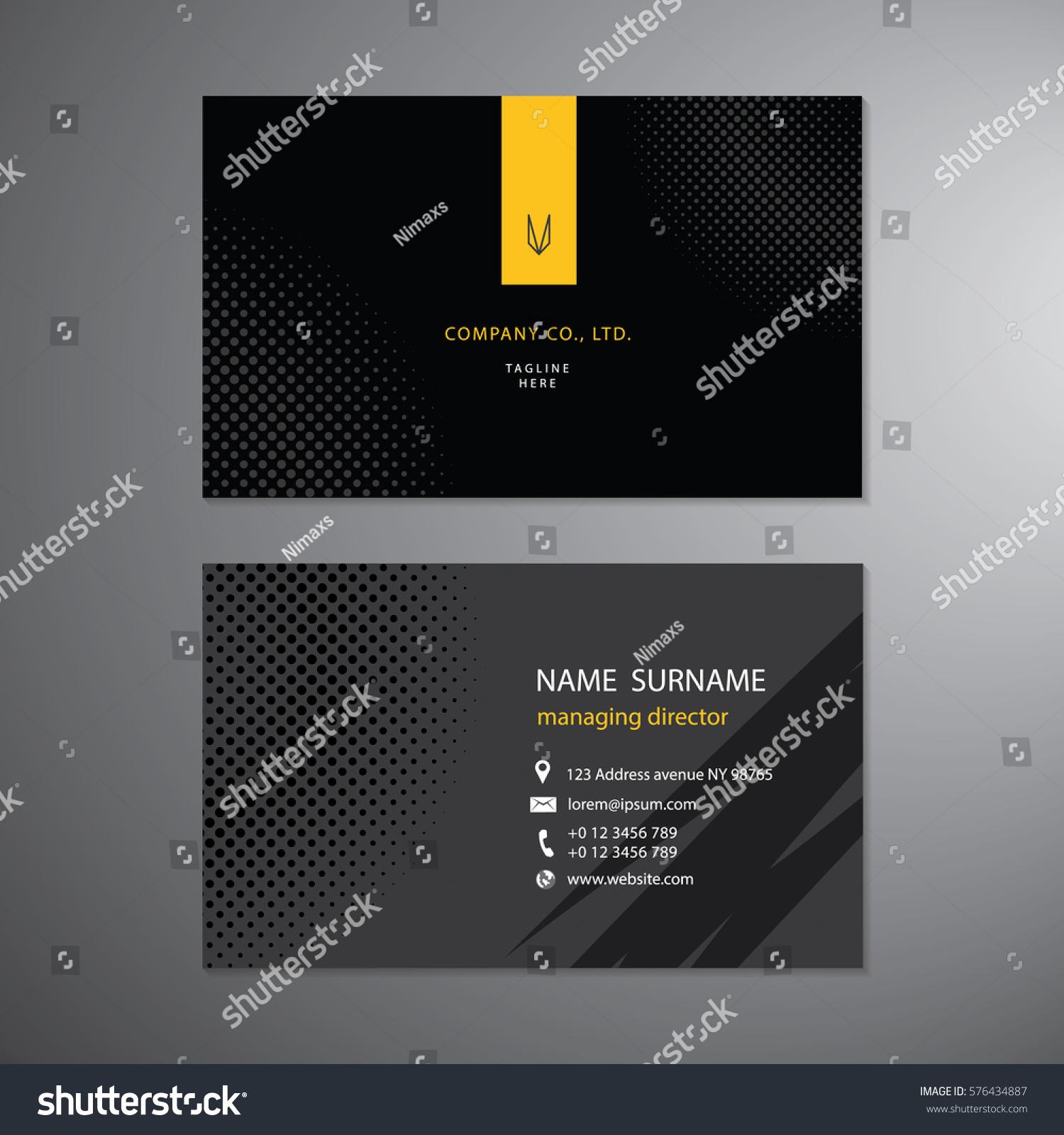 Black Business Cards Set Design Template Stock Vector (2018 ...
